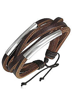 Men's Brown Leather Strand Surf Bracelet by Urban Male