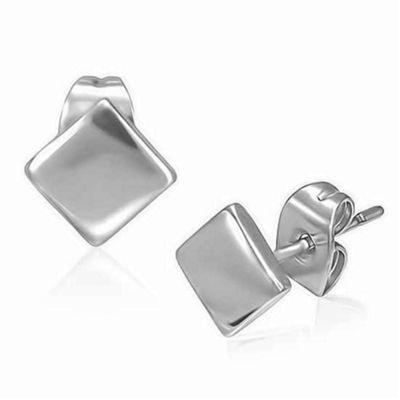 Urban Male Plain Men's Stainless Steel Diamond Shape Stainless Steel Stud Earrings 6mm