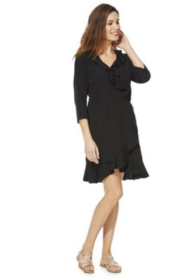 Vero Moda Frill Trim Wrap Dress Black XS
