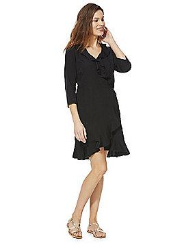 Vero Moda Frill Trim Wrap Dress - Black