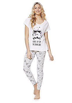 Star Wars Dark Side Slogan Pyjamas - White & Grey