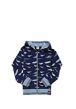 Dudeskin Shark Print Zip-Through Hoodie - Blue