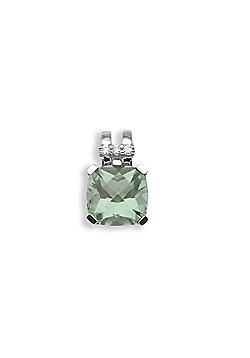 Jewelco London 18 Carat White Gold Diamond-2pt Green Amethyst-1.27ct Cushion-Cut Pendant