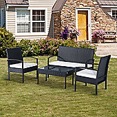 Outsunny Rattan Garden Furniture 4 PCs Outdoor Seaters Black