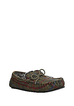 F&F Checked Harris Tweed Moccasin Slippers - Olive green