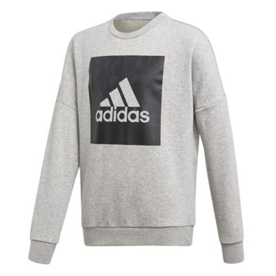 adidas Big Logo Boys Kids Junior Crew Sweatshirt Jumper Grey/Black - 7-8 Years
