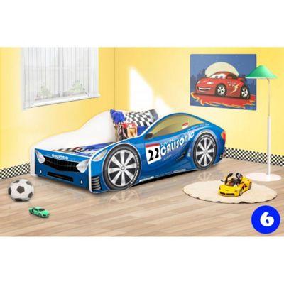 Toddler Car Bed and Mattress - Blue (Medium)