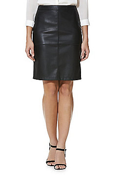 Vila Faux Leather Pencil Skirt - Black