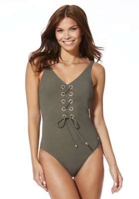F&F Luxury Swimwear Lace-Up Swimsuit 22 Khaki