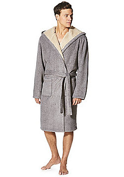 F F Hooded Fleece Dressing Gown - Grey 63a905966