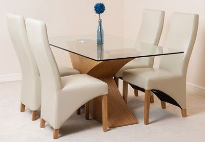 Valencia Glass & Oak 160 cm Dining Table with 4 Ivory Lola Leather Chairs