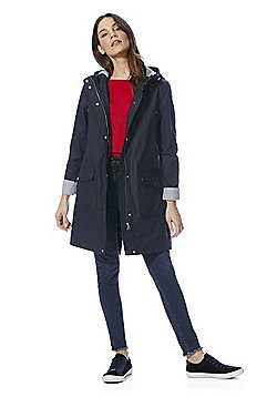 F&F Rubberised Shower Resistant Hooded Raincoat - Navy