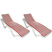 x 2 Sun Lounger Cushions - Red / White - Fits most Loungers Inc Resol Master
