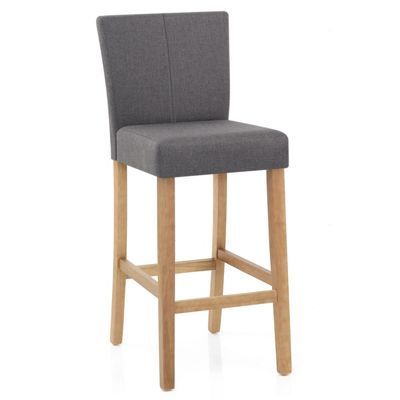 Cornell Oak Fabric Bar Stool Grey