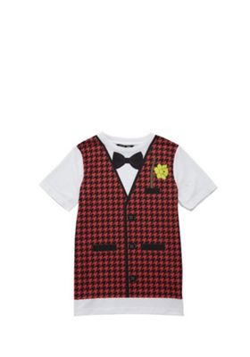 F&F Active St David's Day Bow Tie and Waistcoat Graphic T-Shirt Black 11-12 years