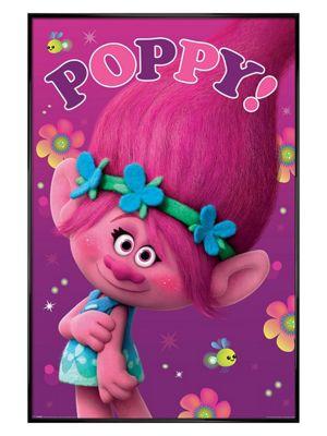 Gloss Black Framed Trolls Poppy Poster 61x91.5cm