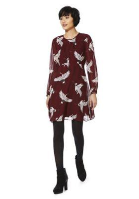 Only Heron Print Dress L Burgundy