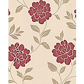 Superfresco Iris Wallpaper - Red and Cream
