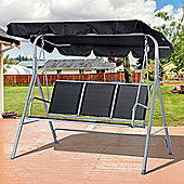Outsunny Metal Swing Chair Garden Hammock Patio Bench 3 Seater - Black