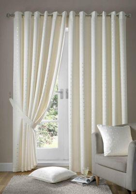 Alan Symonds Madison Cream Eyelet Curtains - 90x90 Inches (229x229cm)