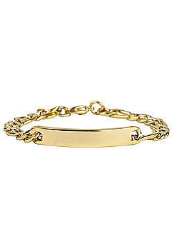 Urban Male Gold Finish Men's Figaro Link Identity Bracelet in Stainless Steel