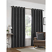 Rapport Yale Chenille Eyelet Curtains - Charcoal