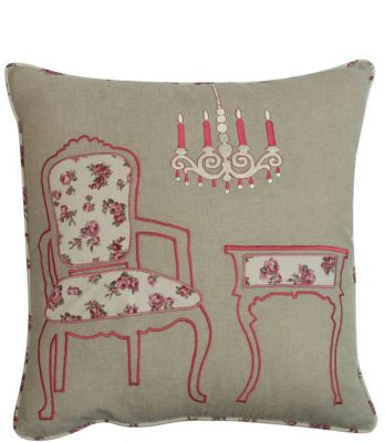 Beige Vanity Room Cushion with Floral Design Piped Edging