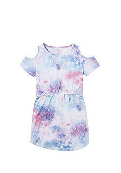 F&F Galaxy Print Cold Shoulder Dress - Blue