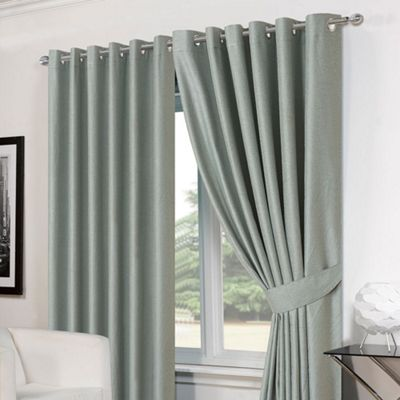 Dreamscene Pair Basket Weave Eyelet Curtains, Duck Egg - 90