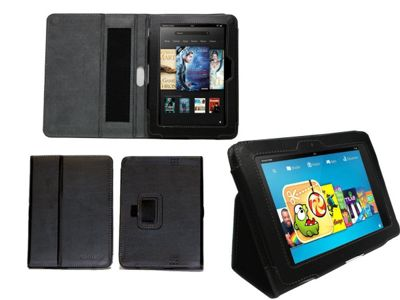Navitech Black Faux Leather Case With Flip Stand & Hand Strap & Sleep Wake Function For The Kindle Fire HD 7 inch