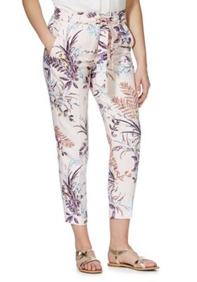 F&F Floral Print Tapered Trousers Pink/Multi 20