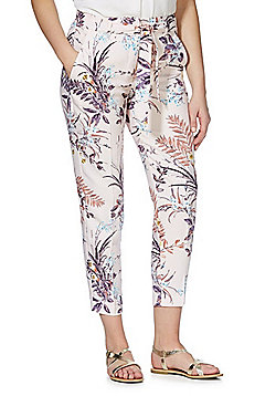 F&F Floral Print Tapered Trousers - Pink/Multi