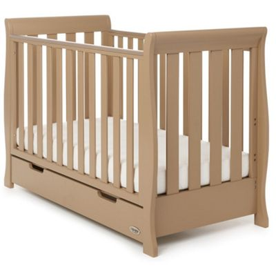 OBaby Stamford Mini Cot Bed + Drawer (Iced Coffee)