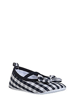 F&F Bow Detail Gingham Pumps - Blue & White