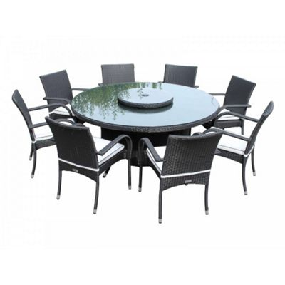 Buy Roma 8 Chairs And Large Round Table And Lazy Susan Set In Black