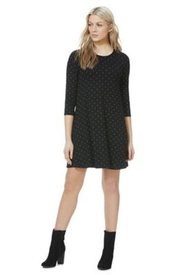 F&F Polka Dot Swing Dress Black 8