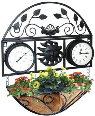 Kingfisher Decorative Garden Wall Planter Clock & Thermometer