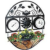 Kingfisher Decorative Garden Wall Planter Clock & Thermometer