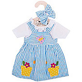 Bigjigs Toys Blue Striped Rag Doll Dress for 38cm Soft Doll with Additional Matching Hair Accessories