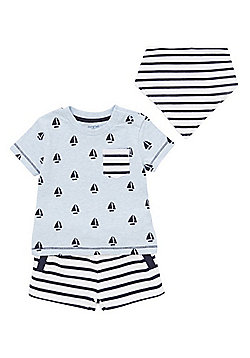 F&F T-Shirt, Bib and Shorts Set - Blue & White