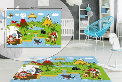 Pirate Kids Bedroom Floor Rug Soft Play Mats Carpets Non-Slip Washable 80 X 120 cm