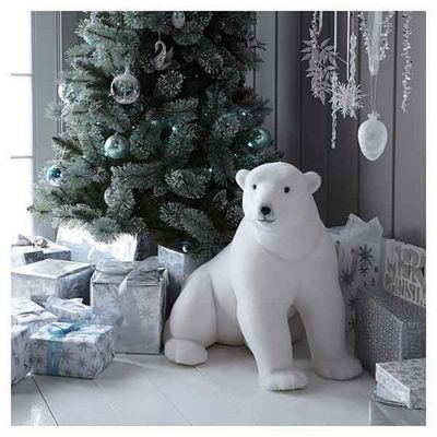 Large Sitting Polar Bear Christmas Room Decoration