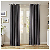 Tesco Canvas Lined Eyelet Curtains - Grey