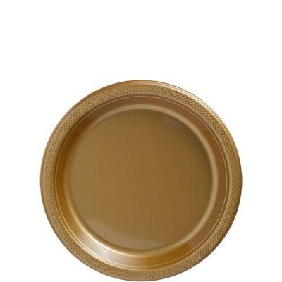 Gold Dessert Plates - 17cm Plastic Party Plates - 20 Pack