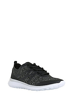 F&F Active Matte Trim Knitted Trainers - Black