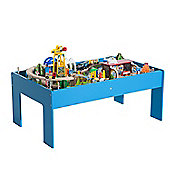 Homcom 83 Pcs Wooden Train Table Set Kids Play Table Indoor Activity Toy