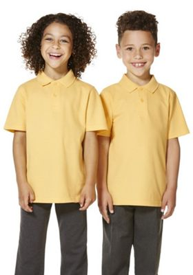 """F&F School 2 Pack of Boys Teflon EcoElite""""™ Polo Shirts with As New Technology 4-5 years Yellow"""