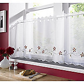 Christmas Poinsettia Cafe Voile Curtain Panel - 58x24 Inch (147x61cm)