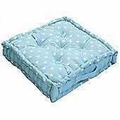 Homescapes Cotton Blue Stars Floor Cushion, 50 x 50 cm