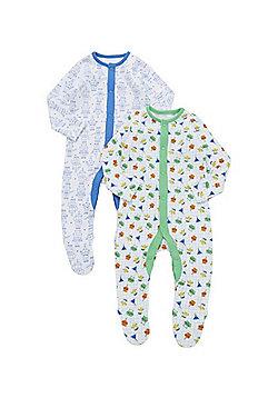 F&F 2 Pack of Robot Print Sleepsuits - Multi